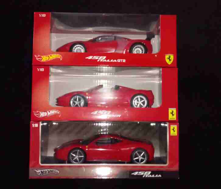 3x Ferrari 458 Italia Spider GT2 OVP Hot Wheels keine Elite