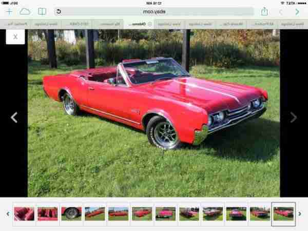 OLDSMOBILE CUTLASS CONVERTIBLE 1967 rot rot