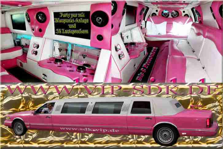 Stretch Limousine Lincoln Town Car Pink