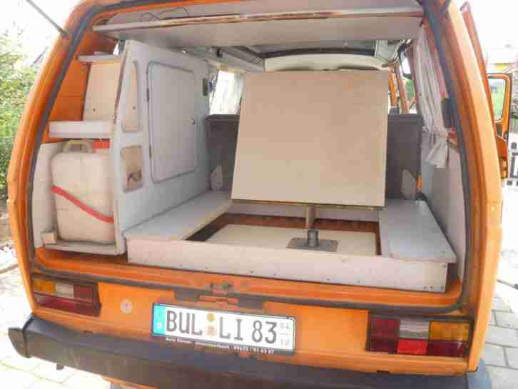 vw bus t3 bulli bj 1983 camper mit hochdach wohnwagen wohnmobile. Black Bedroom Furniture Sets. Home Design Ideas
